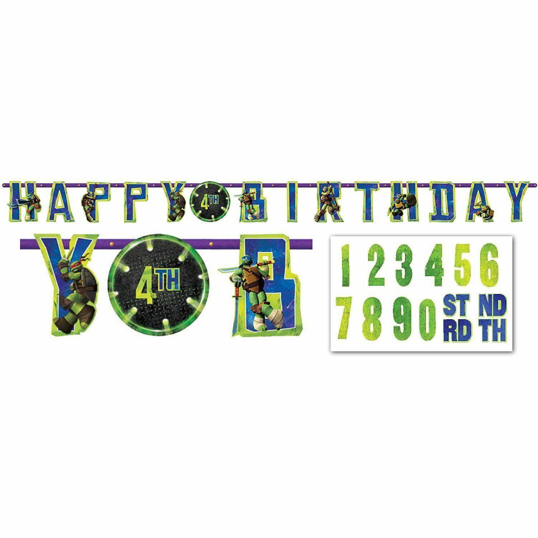 TMNT Teenage Mutant Ninja Turtle Jumbo Happy Birthday Banner Party Supplies New