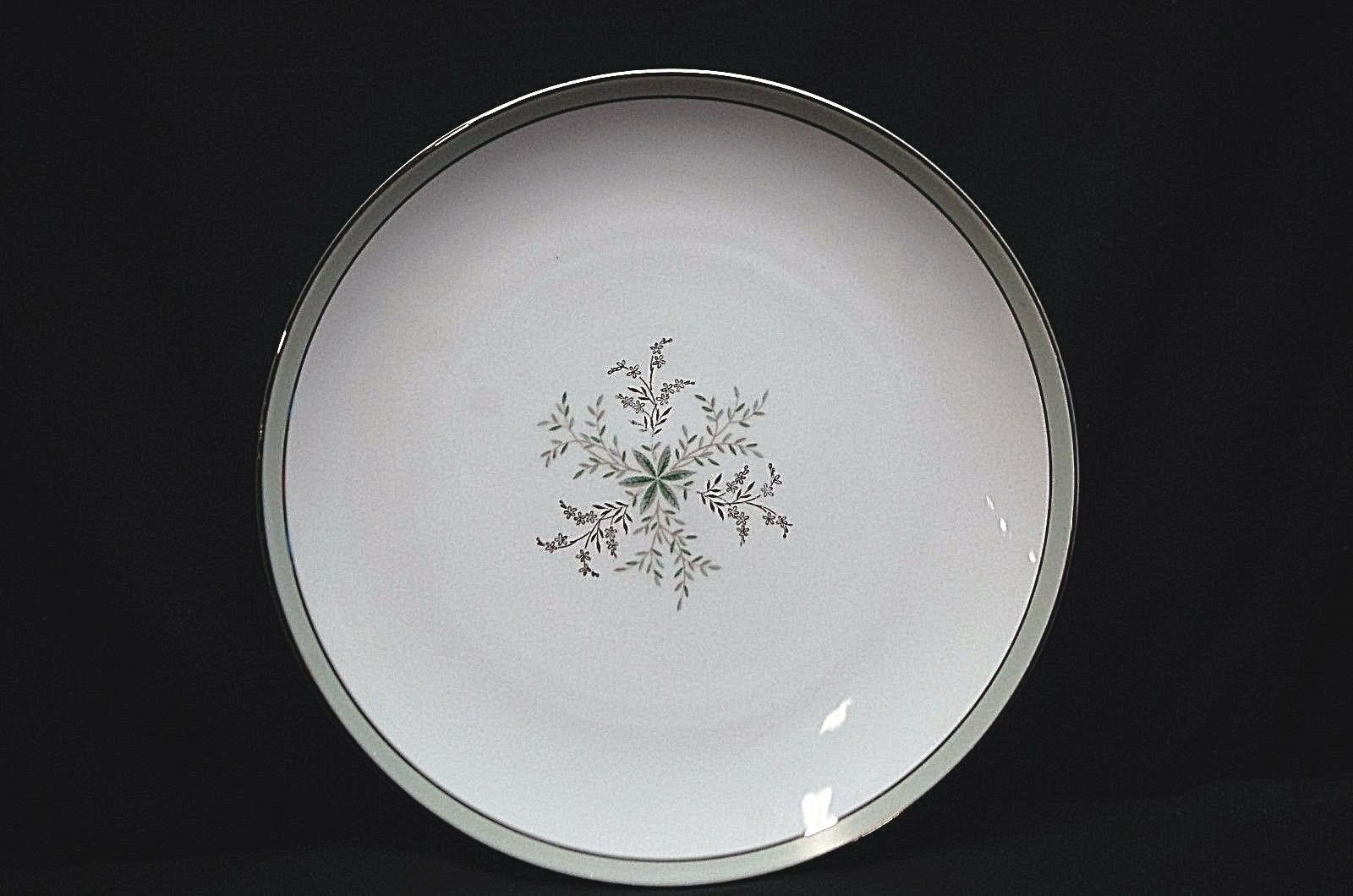 "Primary image for Noritake China Lucille 5813 10-1/2"" Dinner Plate Gray Green Band Flowers Japan"