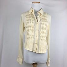 BCBG Max Azria Women's Longsleeve Cream Silk Button Front Pleated Shirt ... - $11.87