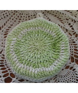 Round Green and White Double Thick Potholder - $8.00