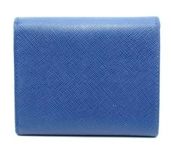 Authentic PRADA Leather Logo Wallet Women Purse Wallet Blue Trifold image 6