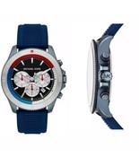 New Michael Kors Men's Chronograph Theroux Sport Navy Silicone Strap Wat... - $118.75