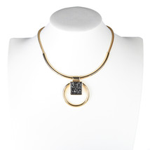 UE- Bold & Sophisticated Gold Tone Designer Necklace With Stone Pendant - $24.99
