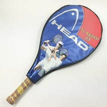 Head Agassi Tennis Racket Ti.Agassi 23 Andre Red Black Vintage Zipper Cover Grip - $19.98