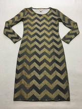Lularoe XS Extra Small Gold Black Sequin Print Chevron Elegant Debbie Dress - $24.99