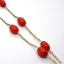 Collier Argent 925 Jaune, Corail Rouge Ovale ,Hexagone Turquoise Pendentif image 4