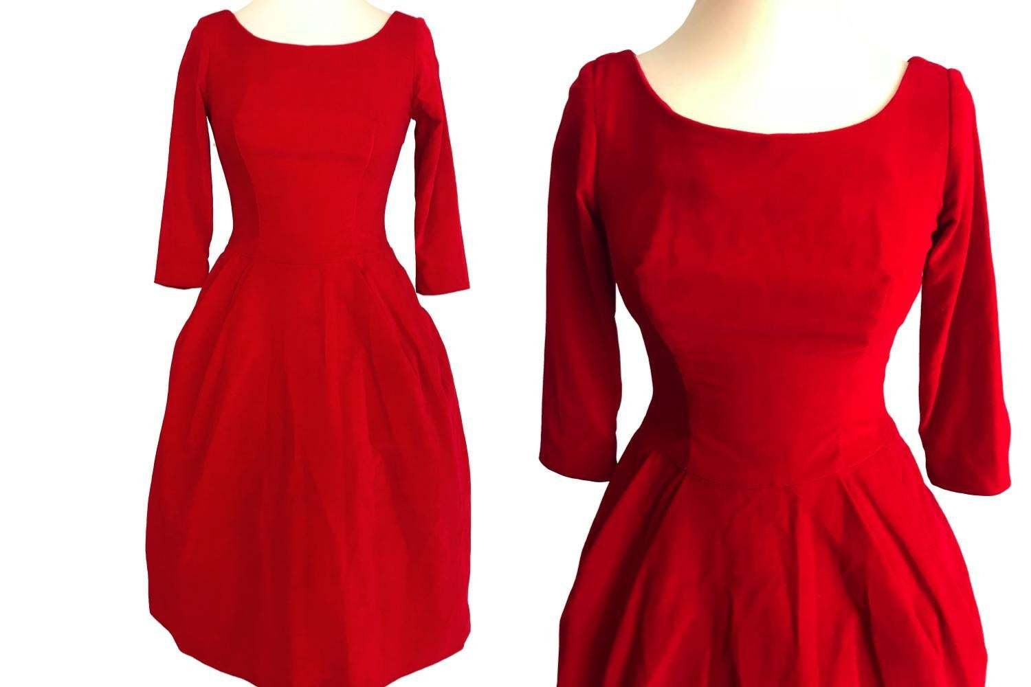 50s Poppy Red Velvet Fit & Flare Xmas Party Bubble Skirt Pin Up Rockabilly Dress image 3