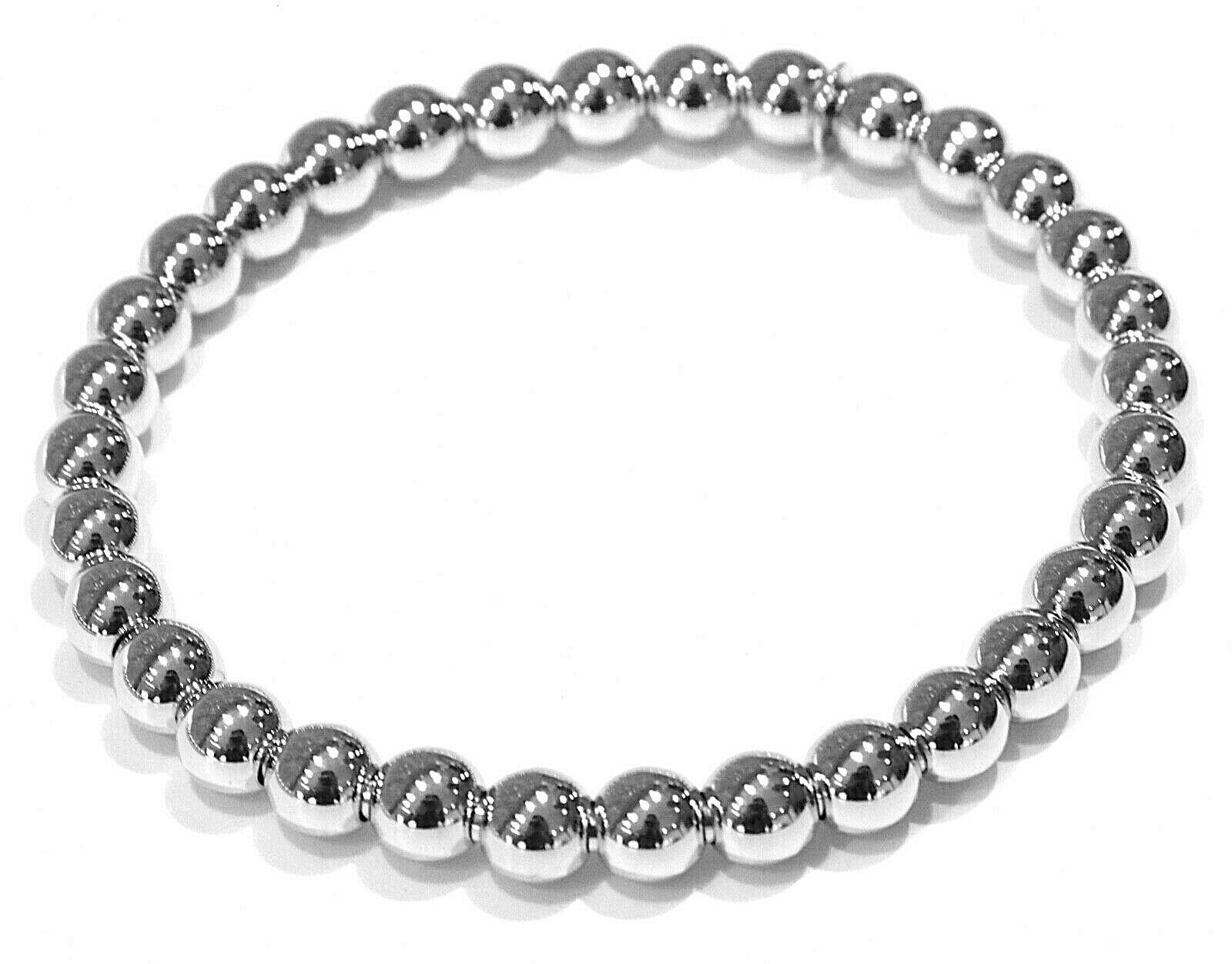 18K WHITE GOLD BRACELET, SEMIRIGID, ELASTIC, BIG 6 MM SMOOTH BALLS SPHERES