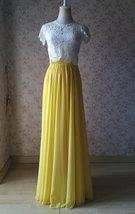 Yellow Chiffon Maxi Skirt Outfit Yellow High Waisted Floor Pleated Chiffon Skirt image 5