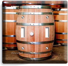 NEW OAK WOOD WINE BARRELS ITALIAN WINERY CELLAR 2 GANG LIGHT SWITCH PLAT... - $12.99
