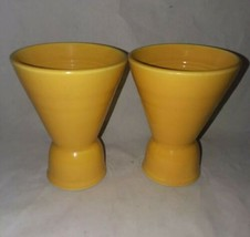 2 Homer Laughlin Harlequin Yellow Double Egg Cups Vintage Discontinued - $24.99
