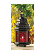 """Moroccan Style Candle Lantern w/ Red Pressed Glass & Lacy Cutouts 10"""" High - $25.95"""
