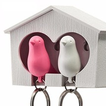 Bird House Keychain Couple Pair Sparrow  Whistle Key Ring Keyholder Acce... - $6.99