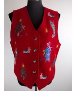 Karen Scott Womens Vest M Medium Red Ugly Christmas Embroidered Tree Pre... - $29.69