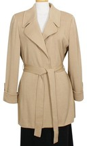 ST. JOHN Carmel Brown Belted Long Wool Blend Santana Knit Jacket 2 NEW - $519.99