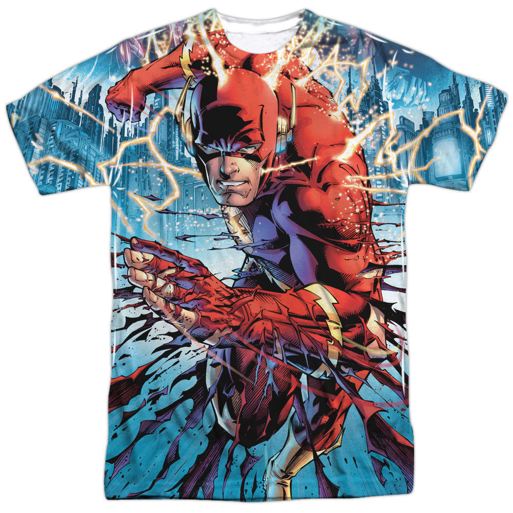 Primary image for JLA Justice League America The Flash Ripping & Tearing Sublimation Front T-shirt