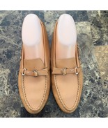 Tods Womens Driving Loafers 37.5 7.5 Leather Slip On Camel Tan Almond Toe Strap - $84.14