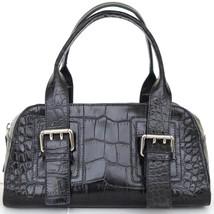 FURLA Black Leather Bag Tote Baguette Top Handle Silver-Tone HW Zipper - $118.75