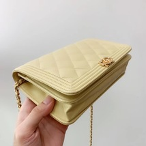 AUTH CHANEL BOY WOC Yellow Lambskin Wallet on Chain WOC Bag Ghw image 4