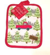 Christmas Holiday Pot holder Potholder 100% Cotton Trees Trucks NEW  - $12.75