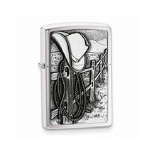 Zippo Resting Cowboy Brushed Chrome Lighter - $49.01
