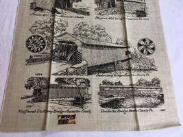 VTG NOS Kay Dee PENNSYLVANIA COVERED BRIDGES Linen Tea Towel image 3