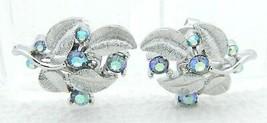 Vtg Crown Trifari Silver Tone Blue Ab Rhinestone Flower Leaf Clip Earrings (B) - $39.60
