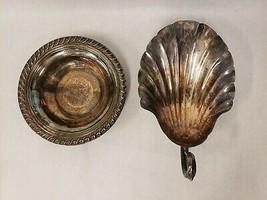 Vtg Silverplate Bon Bon Candy Dishes Fisher Shell K163 & WM Rogers Bowl ... - $27.22