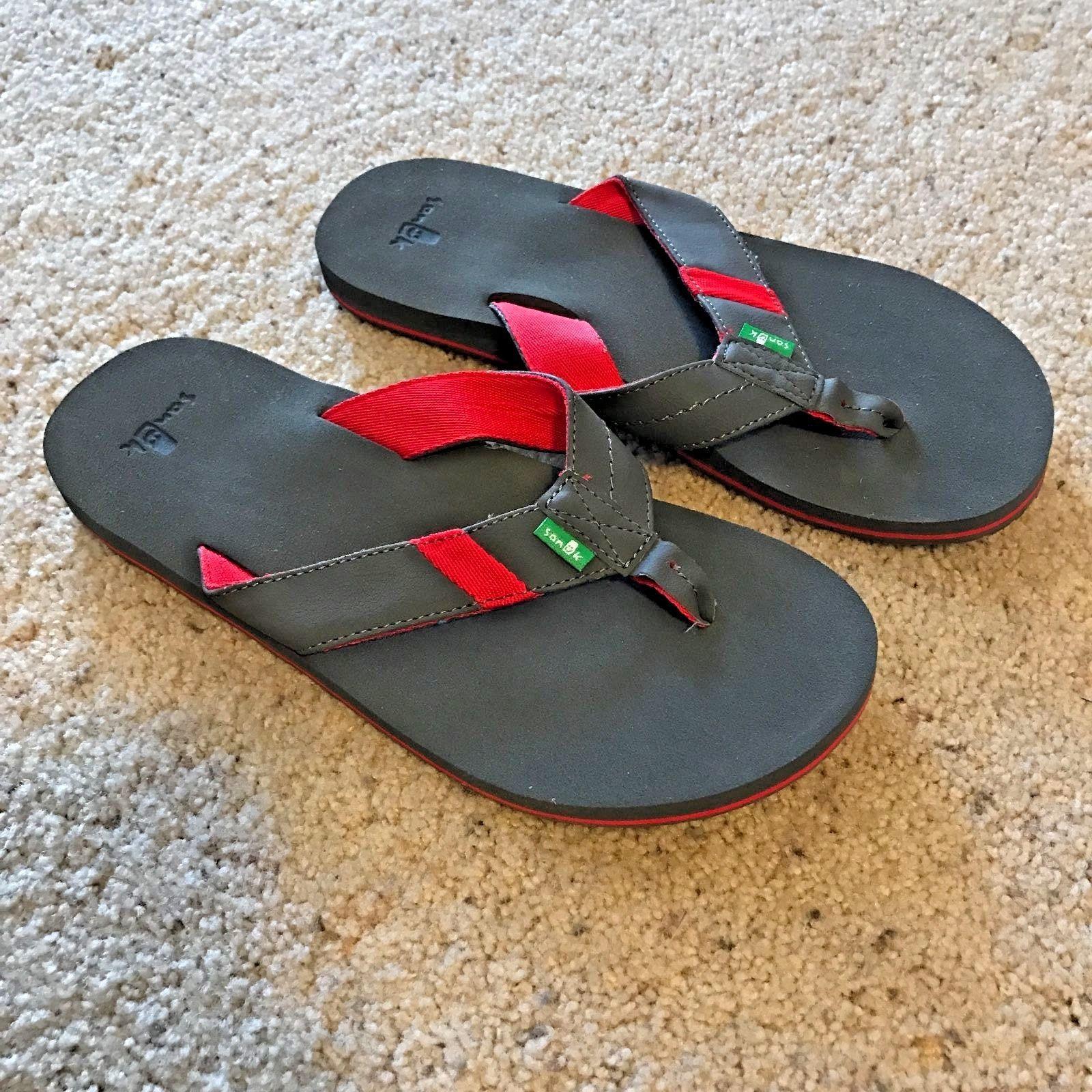 ea8f486a865e9 SANUK JET STREAM Flip Flops Grey/Red Men's - 9 - Thong Sandal Shoes Flip  Flops