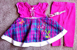 Girl's Size 12 M Months 3 Pc Pink Purple Butterfly Floral Youngland Dres... - $25.00