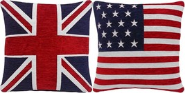 """FILLED UNION JACK AND AMERICAN FLAG CHENILLE RED WHITE BLUE 18"""" CUSHIONS - £18.54 GBP"""