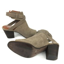 """LUCKY BRAND """"Harum"""" Taupe Bridle LeatherPeep Toe Open Back Booties Size 8 Med image 2"""