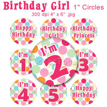 Birthday Girl Bottle Cap Digital Images Polka dot 1 Inch Circles Round G... - $2.00
