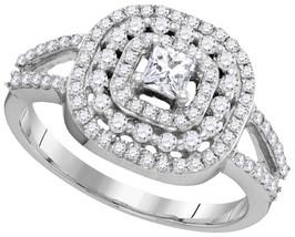 14k White Gold Princess Diamond Solitaire Triple Halo Wedding Engagement... - $863.00