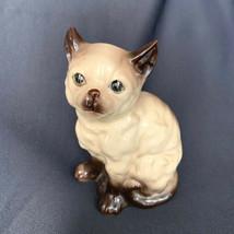 Vintage Siamese Green Eyes Ceramic Cat Figurine Japan - $41.58