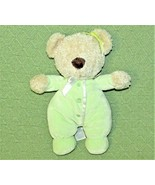 "10"" Carters Green TEDDY BEAR Plush Velour PJs Tan Stuffed Animal BABY TO... - $19.80"