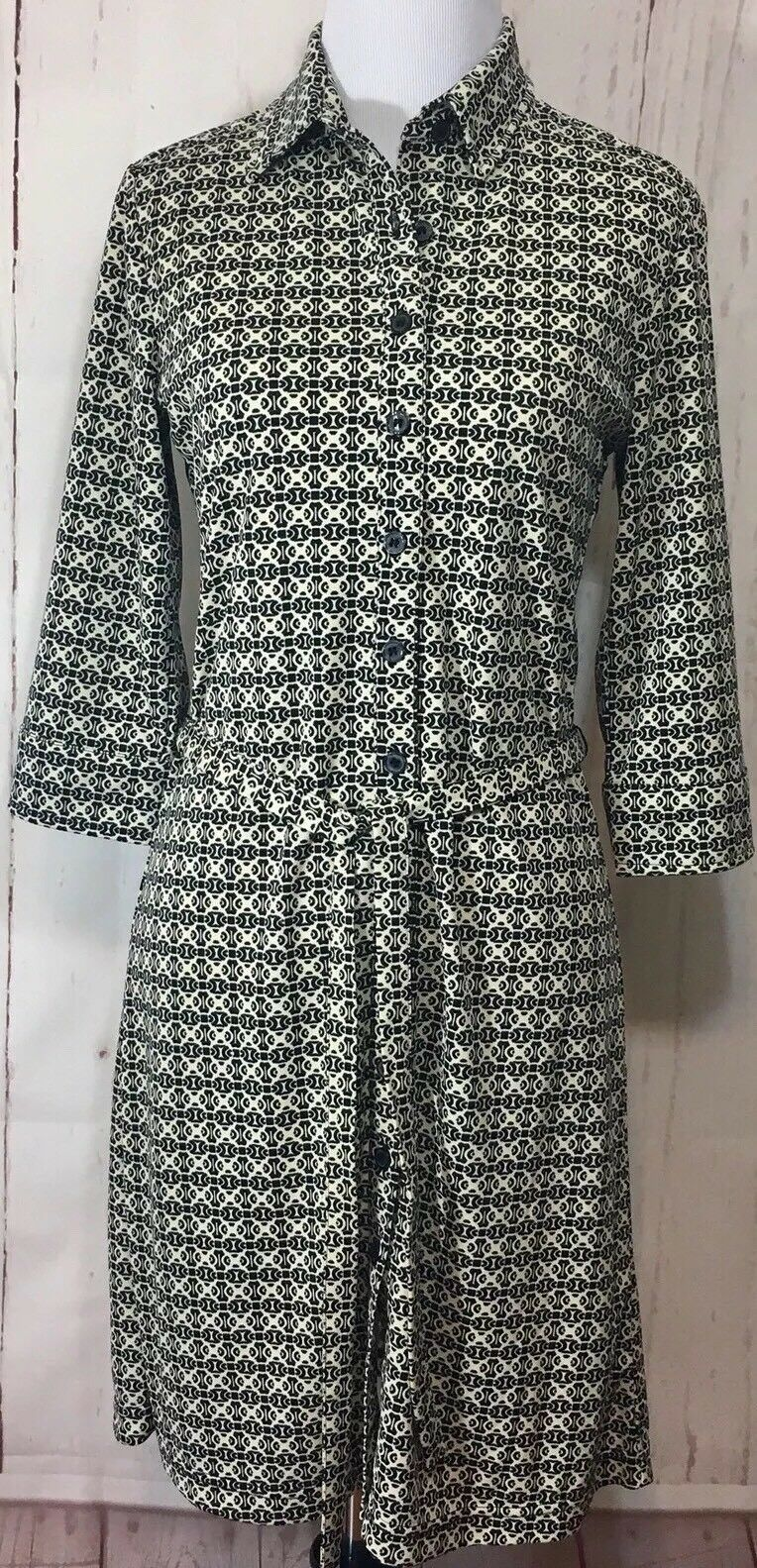Express Dress Button Down Sz 5/6 3/4 Collared Belted 3/4 Sleeve Career