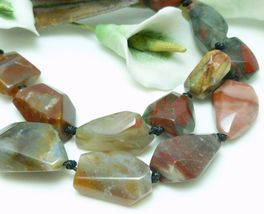 Natural Chalcedony Brown Gemstone Beaded Necklace - $35.00