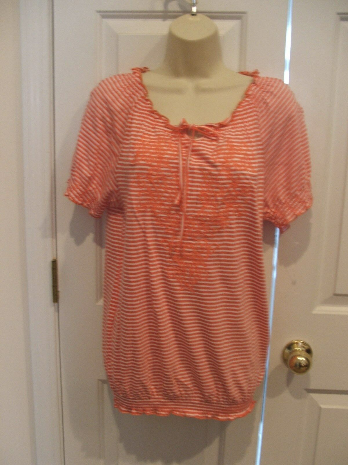Primary image for New faded glory orange striped short sleeve tunic top small 4-6