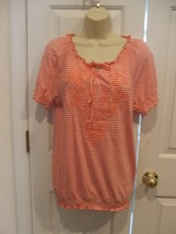 New faded glory orange striped short sleeve tunic top small 4-6 - $11.13