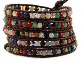 NEW CHAN LUU 5 Wrap Bracelet Multi Semi Precious Gem Stones Silver Butto... - $150.00