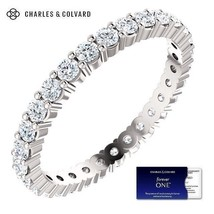 14K Gold 1.00 Carat Moissanite Forever One Eternity Ring - Charles & Col... - $599.00