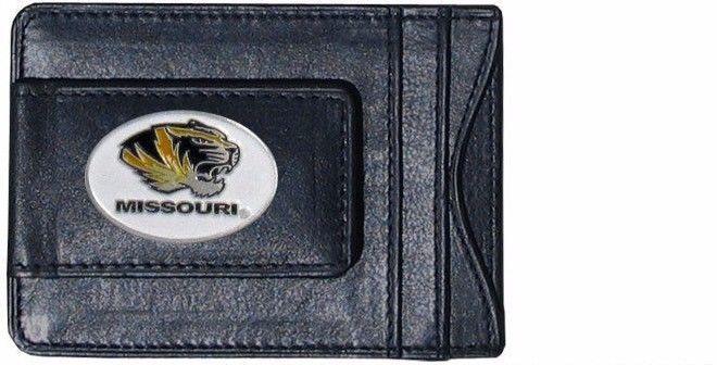 missouri tigers oval logo ncaa college emblem leather cash & cardholder usa made - $27.07