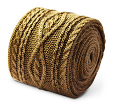 Frederick Thomas gold beige cable knit mens knitted tie FT3362