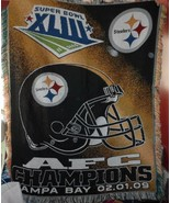"""Pittsburgh Steeler's AFC Champions 2-1-09 throw tapestry blanket  45"""" x 58"""" - $26.50"""