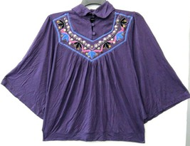 Kaktus Top Purple Multi Dolman 3/4 Sleeve Embroidery Size Medium NEW LL594 - $13.44