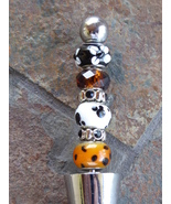 Handmade Beaded Bottle Wine Stopper Winestopper White Brown Black Glass ... - $11.00