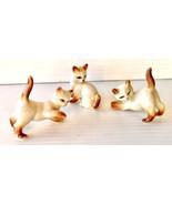Miniature Ceramic Siamese Cat Figurines Mid Century Rare Flame Point 3 in Set - $28.00