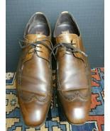 Men's Mealan Antiqued Brown Burnished Leather Short Wing-Tip Oxford Sz.9... - $54.63
