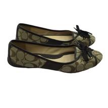 Coach Josie Size 7.5M Ballet Flats Brown Tan Signature C Lace Up Busines... - $60.78